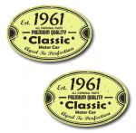 PAIR Distressed Aged Established 1961 Aged To Perfection Oval Design Vinyl Car Sticker 70x45mm Each
